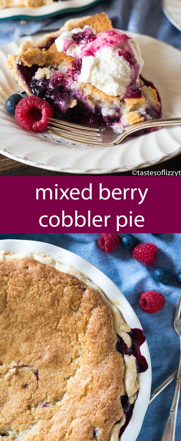 Is it a cobbler or is it a pie? It's the best of both worlds! Mixed Berry Cobbler Pie made with fresh blueberries and raspberries. Top with ice cream for a beautiful presentation.  via @tastesoflizzyt @driscollsberry AD #FinestBerries