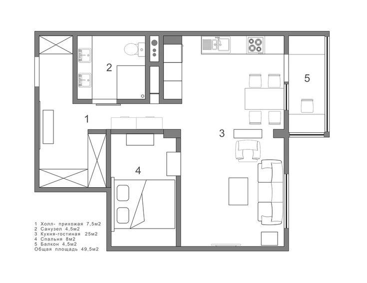 Квартира-студия в американском стиле 49 м2