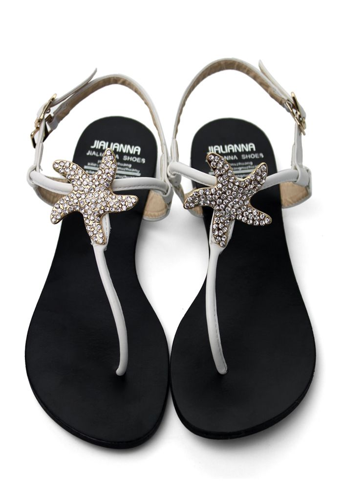 Crystal Starfish Flat Sandals in White - Goods - Retro, Indie and Unique Fashion