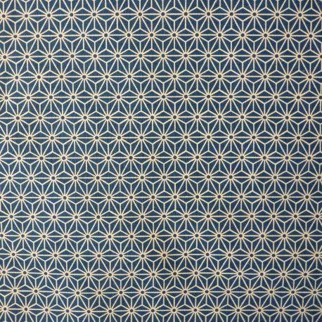Tissu japonais coton bleu de prusse petit asanoha étoile géométrique