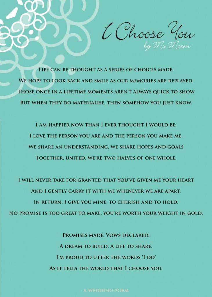 I Choose You A Wedding Poem Wedding Poems Wedding Vows To Husband Wedding Ceremony Readings