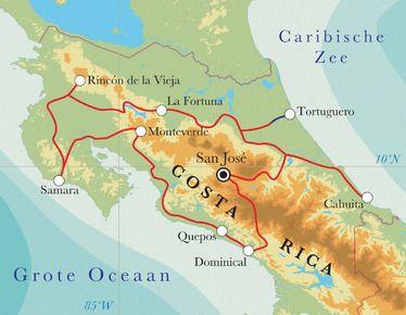 Routekaart Rondreis Costa Rica, 21 dagen