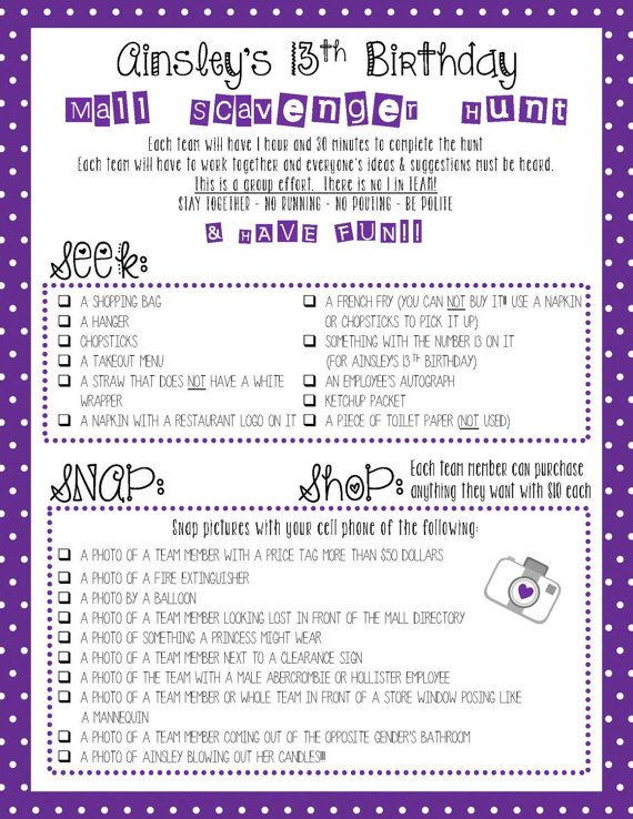 Mall Scavenger Hunt List by SimplyMELvelous on Etsy