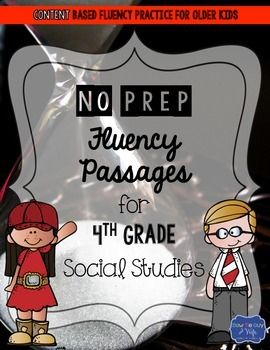 Fluency passages are an excellent way to improve reading and review social studies content at the same time! Older kids still need fluency practice and this product will help you sneak in extra social studies content while you can! There are 66 unique social studies fluency passages and also 5 or 10 unique review questions to go with it.