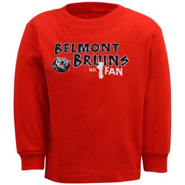 Belmont Bruins Toddler Red #1 Fan Long Sleeve T-shirt - $4.99