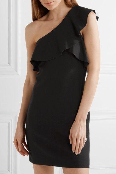Elizabeth and James - Jerard One-shoulder Ruffled Stretch-ponte Mini Dress - Black - US10