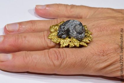 """Кольца ручной работы. """"Осенняя грусть..."""" кольцо - миниатюра с грустной собакой. Marianna2705. Ярмарка Мастеров. Серебряное кольцо, грусть"""