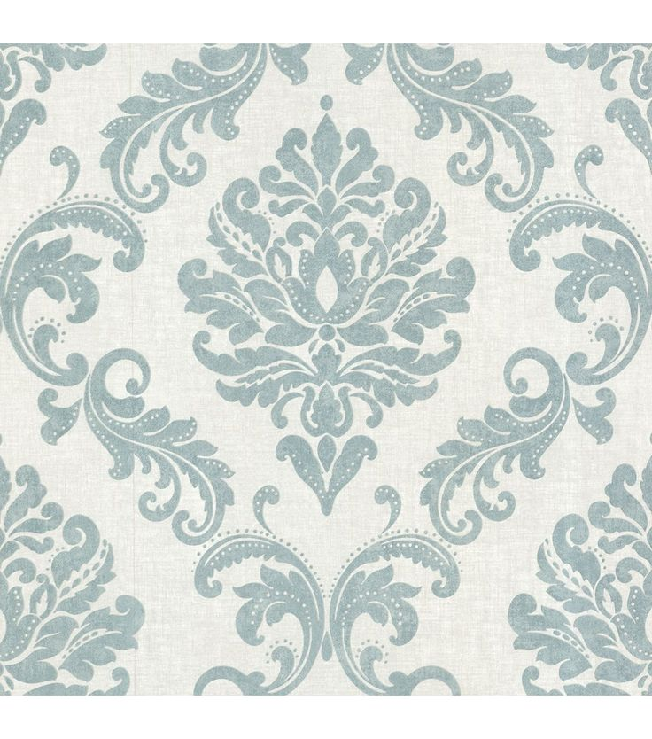 Sebastion Aqua Damask Wallpaper. Perfect for the inside face of my built-in bookshelves.