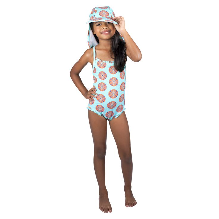 Frolik Sea Urchin ensemble - Sun Hat and Swimsuit. Available at www.frolikbeachstyle.com in sizes 2-3, 4-5, 6-7 and 8-9yrs.