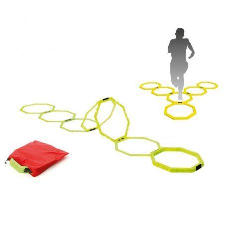 Set de 12 inele in forma de octogon - scarita si obstacole, pentru antrenament, cu cleme pentru conectare. Ideala pentru imbunatatirea coordonarii, vitezei, a fortei picioarelor si agilitatii. Pentru un antrenament complet, se poate folosi ca scarita imbinata cu obstacole. Culoare: galben fluorescent. Se livreaza intr-un saculet rosu, pentru transport facil.