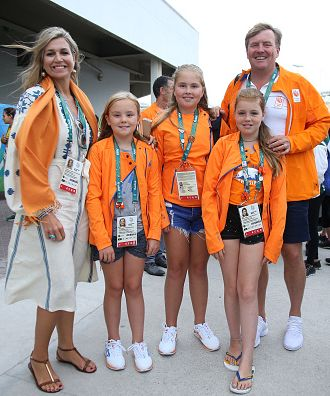 Queen Maxima of the Netherlands, King Willem-Alexander of the Netherlands and their daughters, (L-R) Princess Ariane, Crown Princess Catharina-Amalia and Princess Alexia leave the Arena after celebrating the gold medal of Sanne Wevers of the Netherlands at the Women's Balance Beam Final on day 10 of the Rio 2016 Olympic Games on August 15, 2016 in Rio de Janeiro, Brazil.