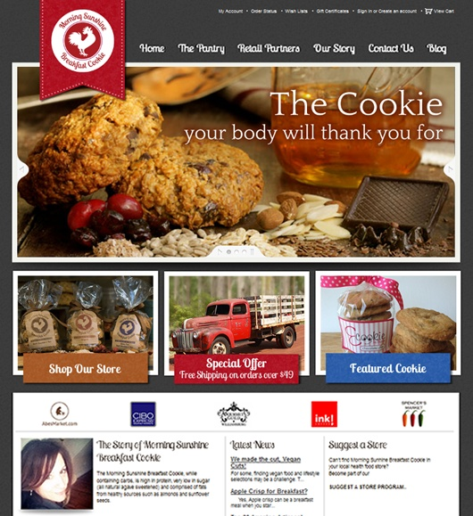 Morning Sunshine Breakfast Cookie Ecommerce Site by New Dynamx , via Behance