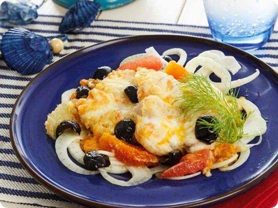 Medaglioni di coda di rospo con agrumi finocchio e olive.