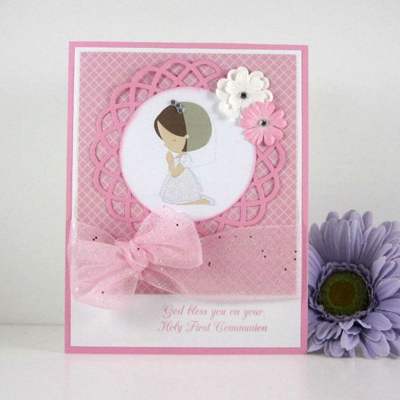 die cut communion card | Communion card, holy first communion card, for girl, religious, pink ...
