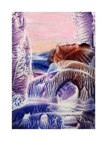 The Bridge = Encaustic art wax fantasy landscape painting.