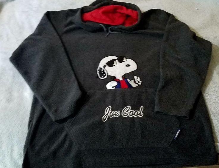 Peanuts Brand JOE COOL Hoodie Sweatshirt Adult Large  Grey drawstring extra soft