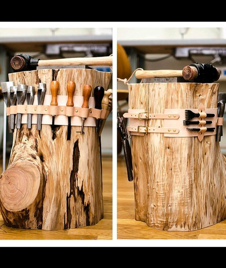 I have a stump like this! Can't wait to add places for my tools!!!