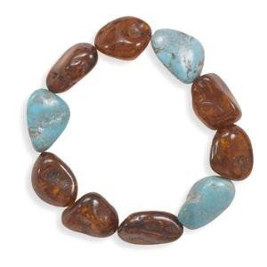Cognac Baltic Amber with Turquoise Bracelet Stretch to Fit AzureBella Jewelry. $80.12. Stretch to fit. Baltic amber and turquoise stones. Jewelry gift box included. .925 sterling silver