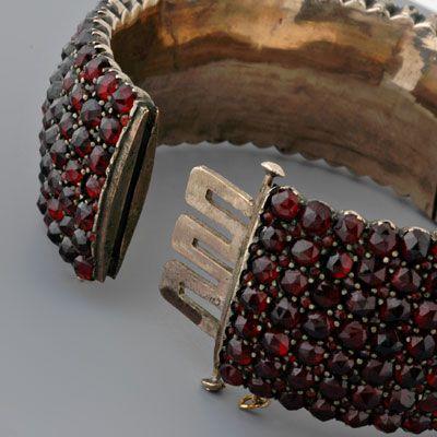 Antique Czechoslovakian Garnet Bangle Bracelet