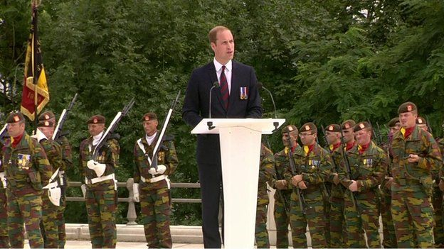 Prince William addressed the ceremony to commemorate 100 years since Britain joined World War I at Liege in Belgium.