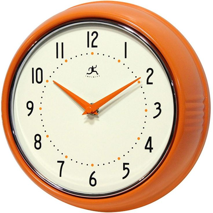 Clock for time zones of family in other parts of the world? And label of course. Like the orange. Infinity Instruments // Retro Orange Wall Clock