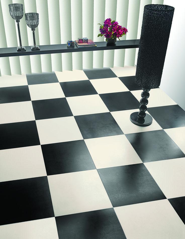 Allure lattialaatta koossa 50×50 ja 33×33 cm. Saatavana 16 eri väriä, kuvassa white ja black.