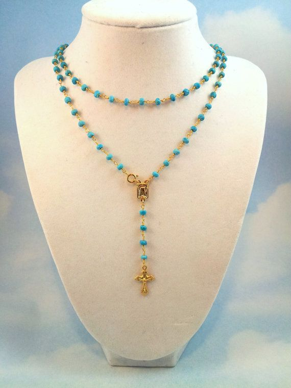 """32"""" Long  Doublewrap Turquoise Rosary Necklace Womens Gold Cross Pendant - Miraculous Medal - Crucifix Cross Real Housewives Rosary, $130.00"""