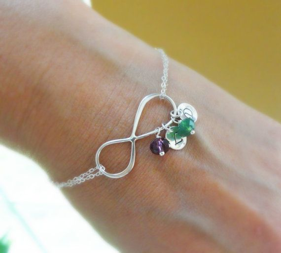 Personalized Infinity Bracelet with initials & Birthstones, Mothers bracelet, Sterling silver Initial bracelet, Silver infinity jewelry.  Maybe just maybe one of my girls will take this as a hint. We shall see.