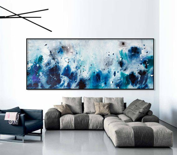 Abstract Seascape Print Grey Blue Painting Large Abstract Art Long