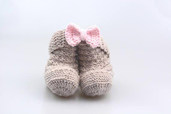 Beige-rosa Baby Set Mädchen Stirnband Baby Schuhe Baby