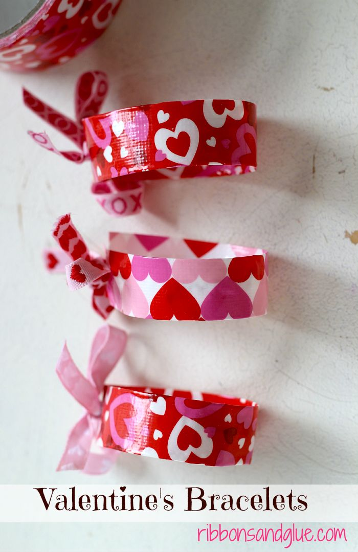 Simple Valentine's Bracelets made with Duct Tape.. Easy Valentine's Day craft, Just cut, fold and tie!