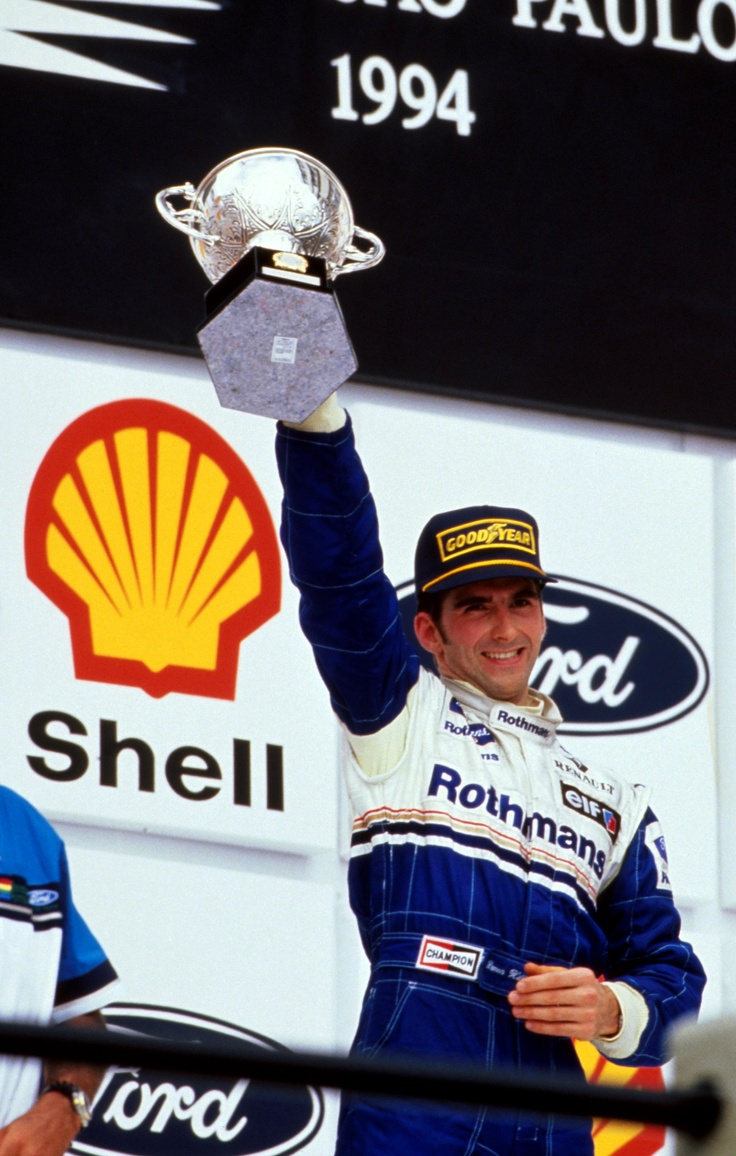 Damon Hill lifting his trophy for 2nd place at the 1994 Brazilian GP