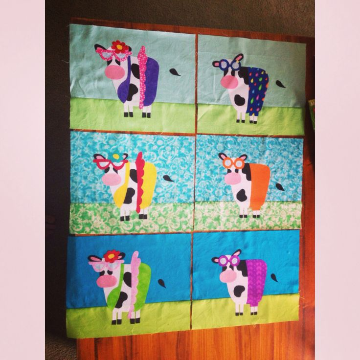 Cows in bikinis. Single bed quilt.