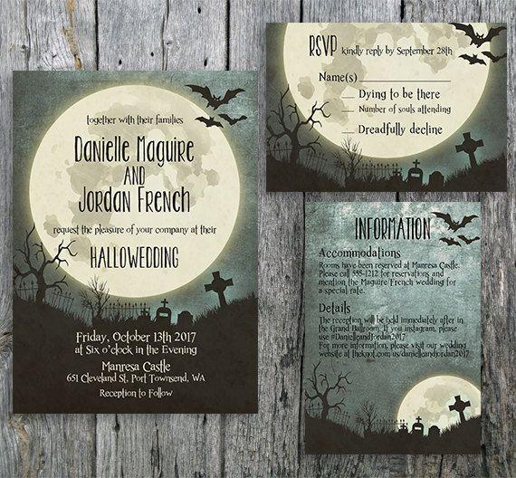 128 best graveyard wedding images – Halloween Wedding Reception Invitations