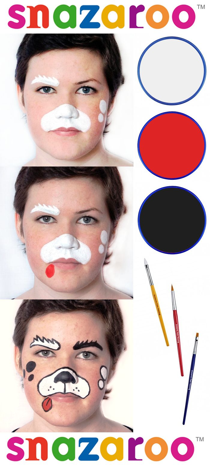 Simple and easy beginners face painting - Dog design by Emily Parker for Snazaroo