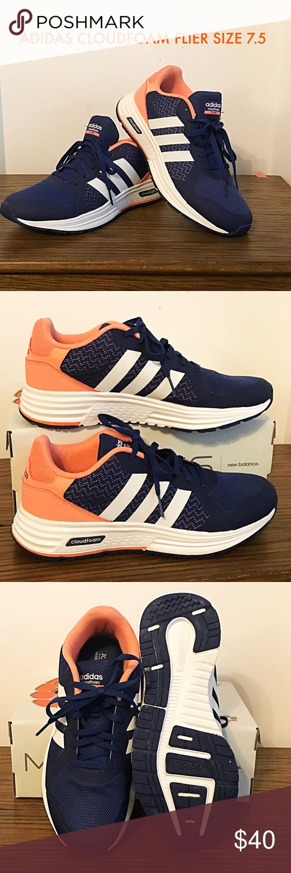 """ADIDAS CLOUDFOAM FLIER RUNNING SHOE 7.5 NWOT FAVE RUNNING SHOE! I own a pair myself and was gifted these. They have been worn once, literally JUST to try on. They Don't fit or I would keep them! If you are a size 8, these would fit, as they tend to run large- but I am usually an 8.5. MSRP: $74-$120. On Amazon now for $69. They are low profile and super cute, but have the most amazing comfort! It looks like wear on the inside """"Adidas"""" print, but it is from the price tag which was placed…"""