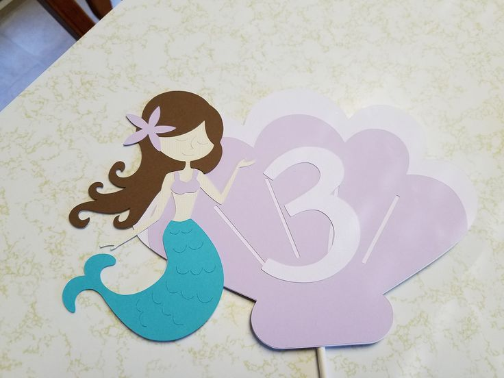 Mermaid cake topper, Little mermaid cake topper, mermaid birthday, mermaid banner, mermaid centerpiece by MindysPaperPiecing on Etsy