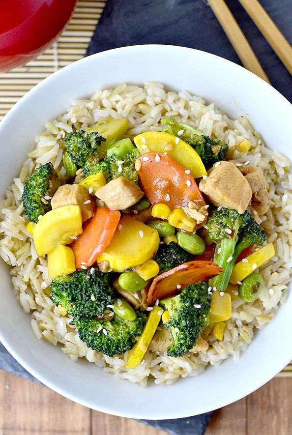 Chicken and Vegetable Stir Fry is a simple and delicious recipe for when you need a healthy, filling, and fast dinner. @Iowa Girl Eats   iowagirleats.com