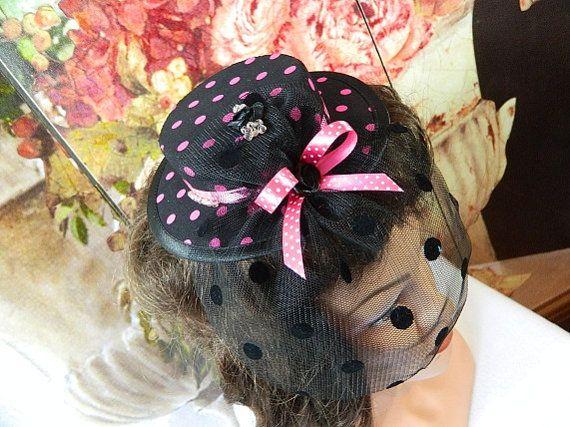 pink black veil Minihat Steampunk Minizylinder Tophat Gothic burlesque Costume Cosplay Lolita Millinery