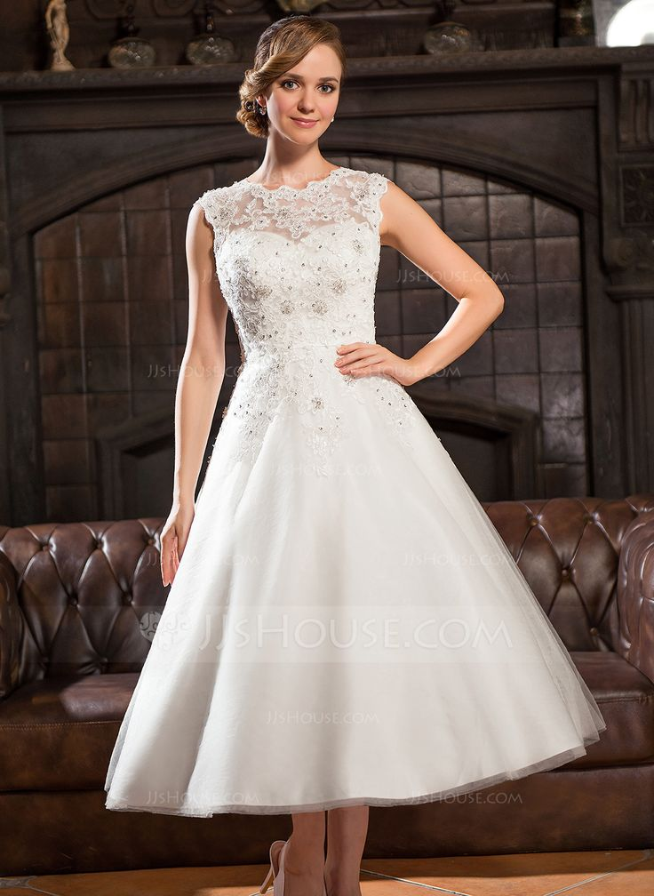 A-Line/Princess Scoop Neck Tea-Length Tulle Lace Wedding Dress With Beading Sequins (002054370) - JJsHouse