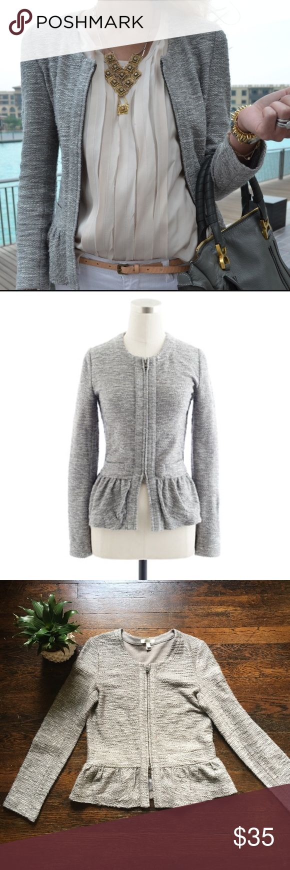 J Crew Peplum Jacket Amazing silver and grey peplum jacket from J Crew. Size S. Excellent used condition. Please feel free to ask questions  J. Crew Jackets & Coats