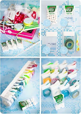 Easy way to store small scraps of ribbon once you've tossed out the empty spool - roll them up and store in slim Tic Tac containers!