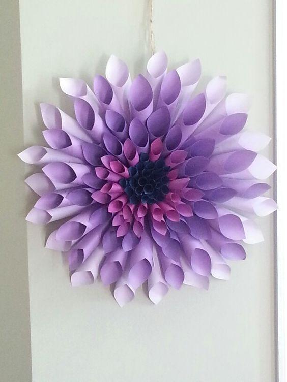My purple dahlia paper wreath:
