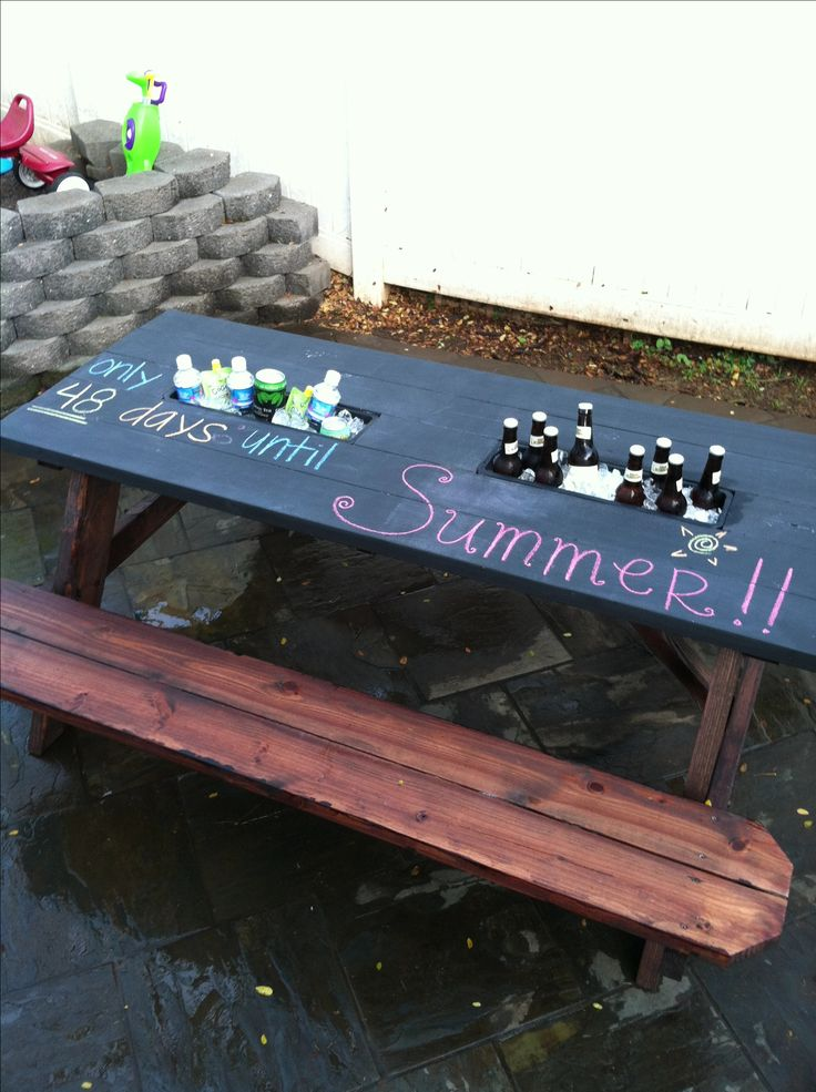 chalkboard top picnic table with planter boxes as coolers