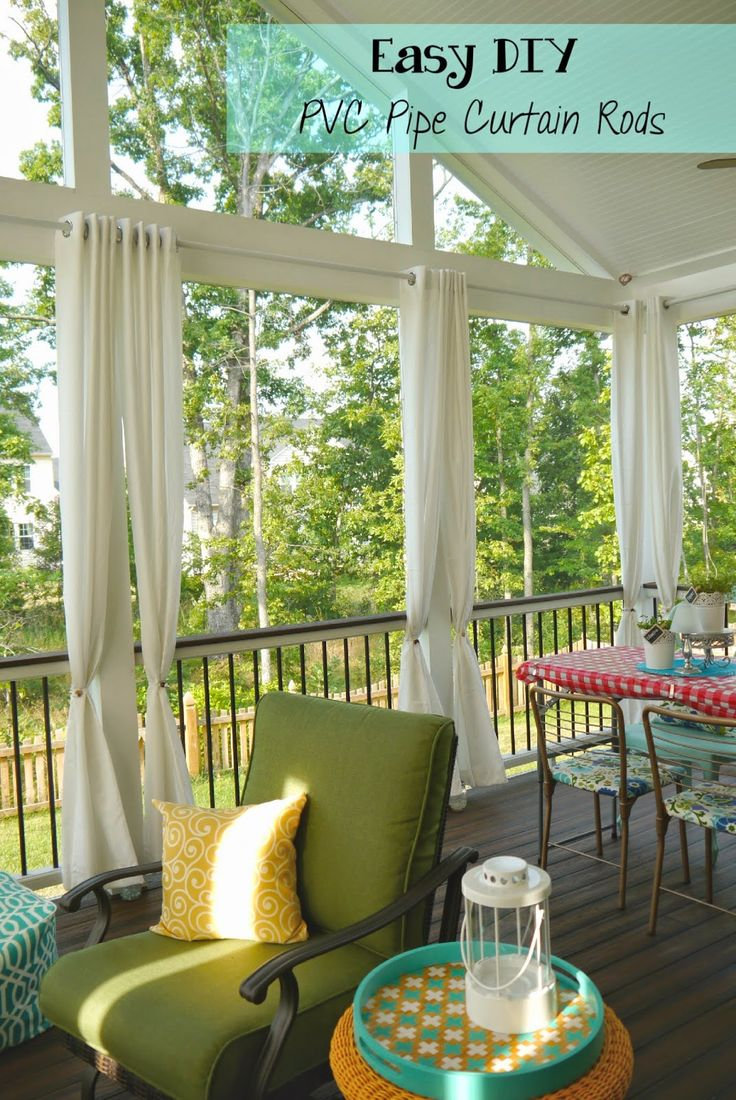Easy and Cheap DIY PVC Pipe Curtain Rods Outdoor curtain
