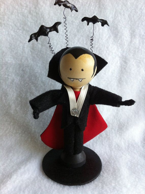 Miniature wood clothes pin vampire/Dracula inspired by Cherie4e