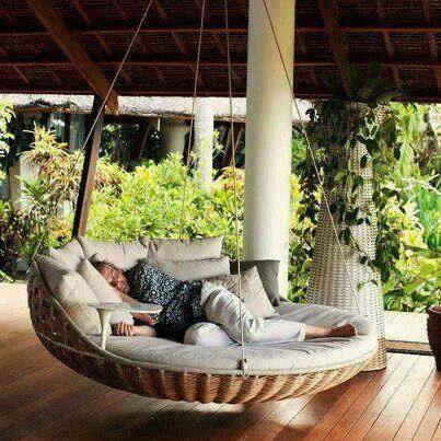 Swinging chair bed... Awesome!