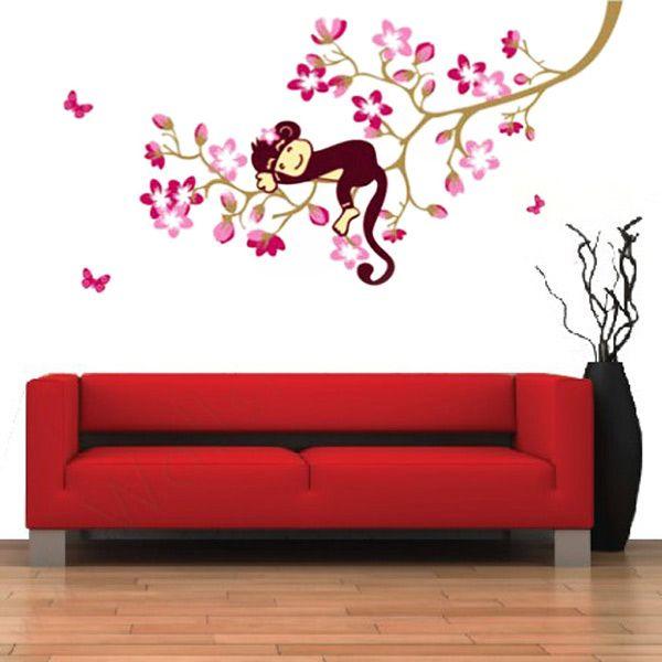 Perzik bloesem boom tak slapen aap dier kunst sticker verwijderbare muur sticker voor kinderen baby