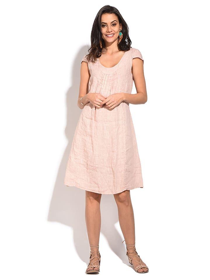Leinen-Kleid in Rosa