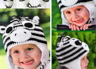 Gorro de cebra a crochet para niños